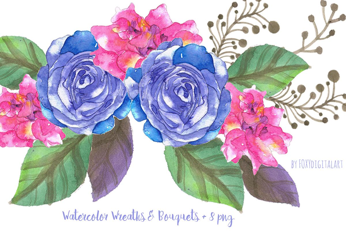 Wedding flower. Watercolor flowers clipart