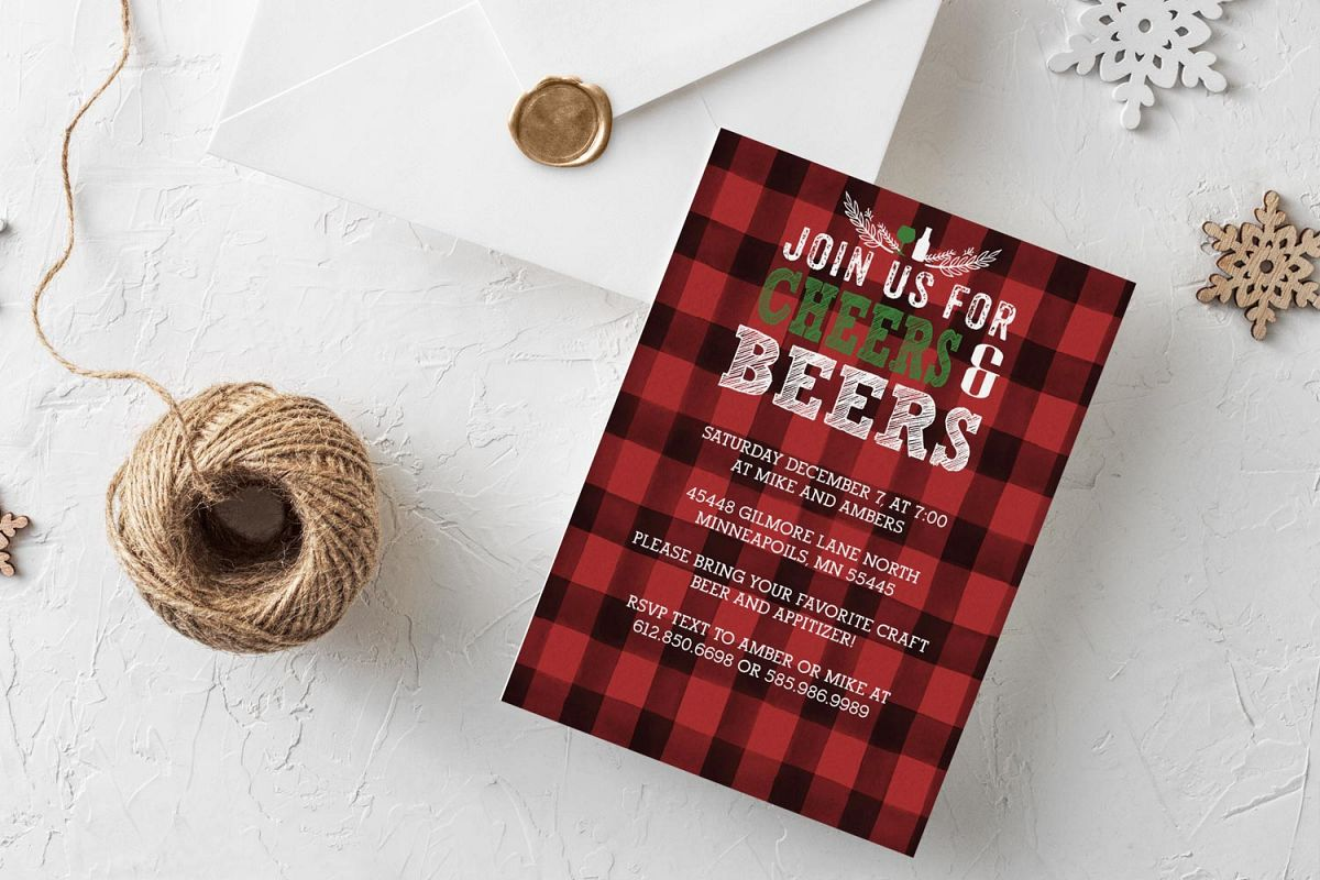 Cheers & Beers holiday invitation Illustrator template example image 1