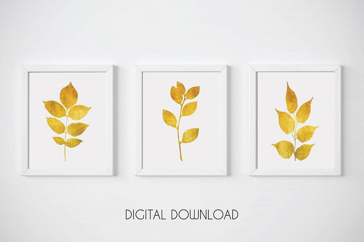Gold Leaf Prints, Gold Print Set, Gold Botanical Prints example image 1
