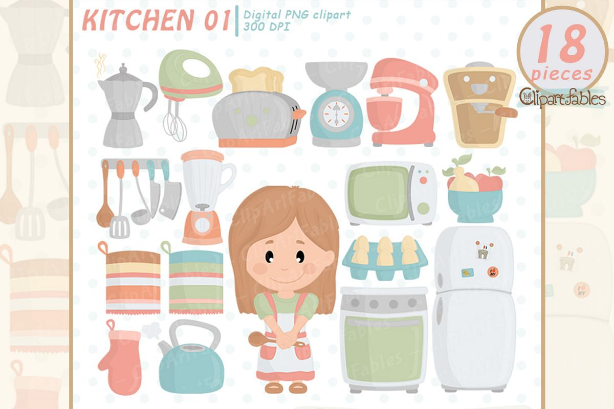 KITCHEN clipart, Cute girl chef clip art, Housewife example image 1
