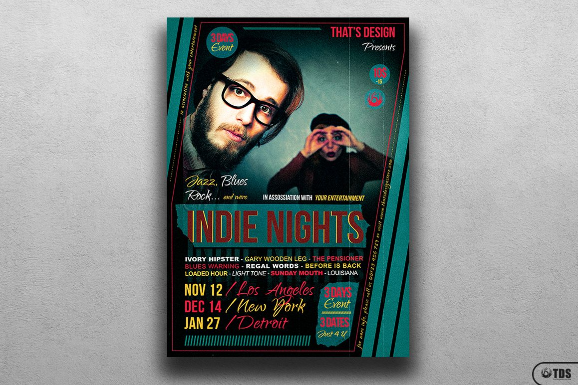 Indie Nights Flyer Template example image 1