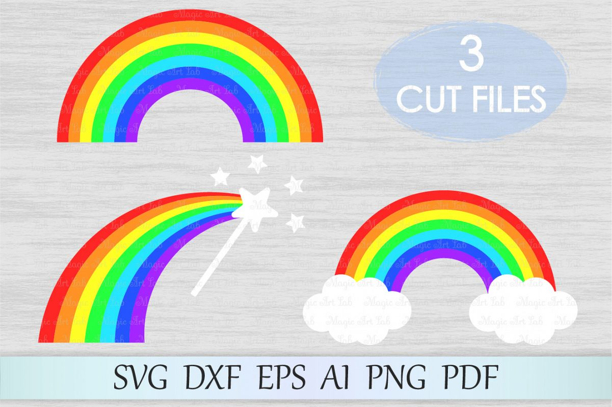 Rainbow svg, Rainbow with clouds svg, Rainbow cut file example image 1