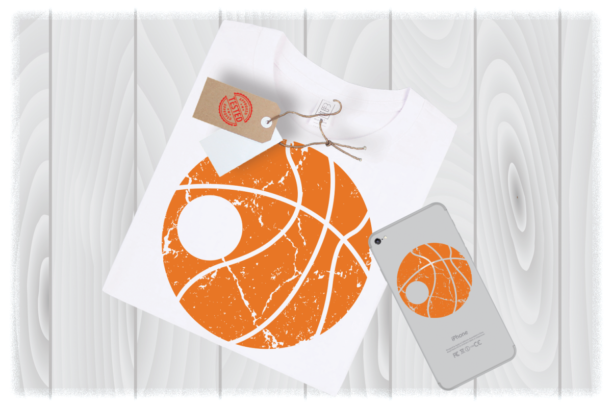 Distressed Basketball Monogram Svg Files for Cricut Designs example image 1