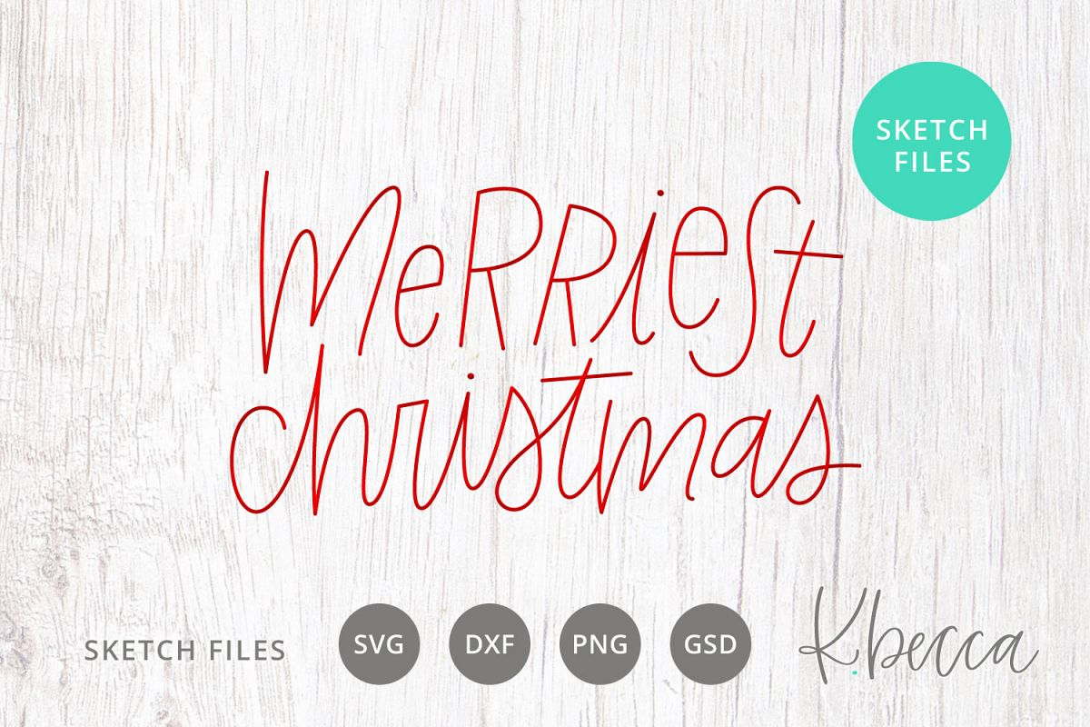 Foil Quill Sketch Merriest Christmas SVG example image 1