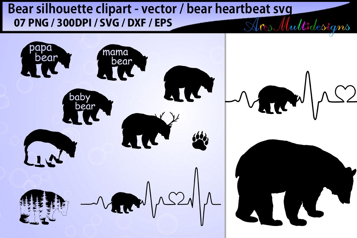 634027cc bear svg silhouette vector / mama bear svg cut / papa bear svg / family bear