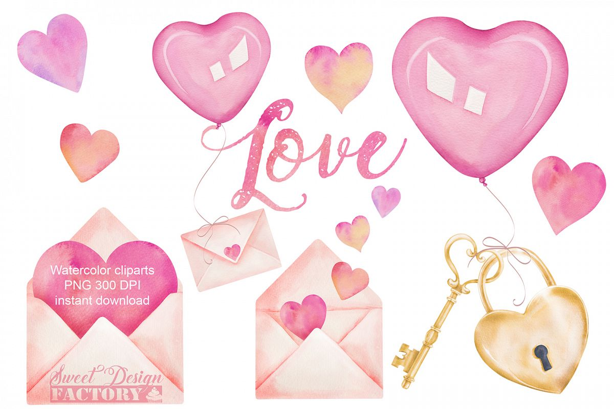 Valentine's day watercolor clipart example image 1