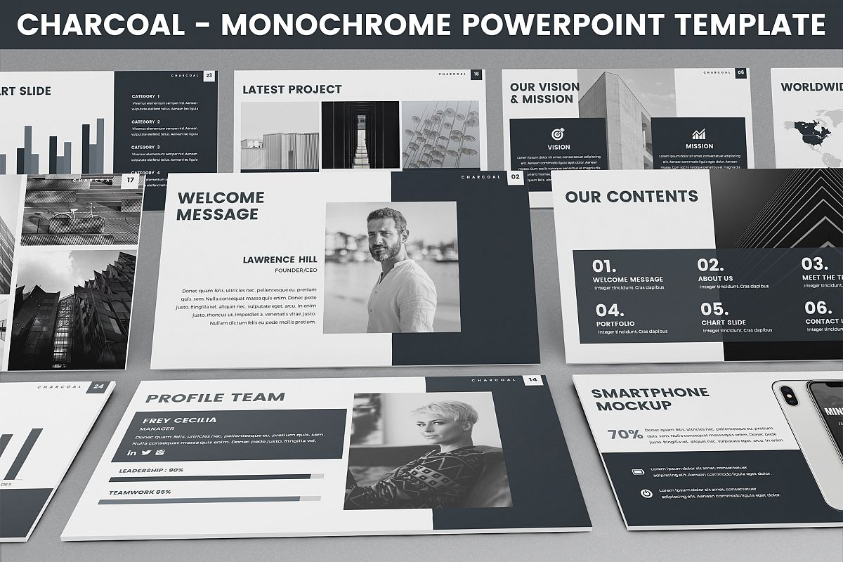 Charcoal - Monochrome Powerpoint Template example image 1