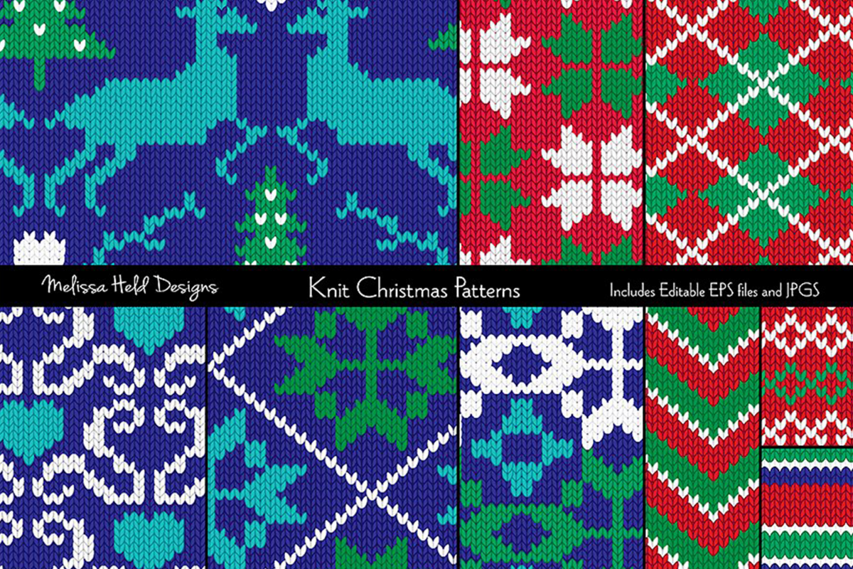 Nordic Knit Christmas Patterns example image 1