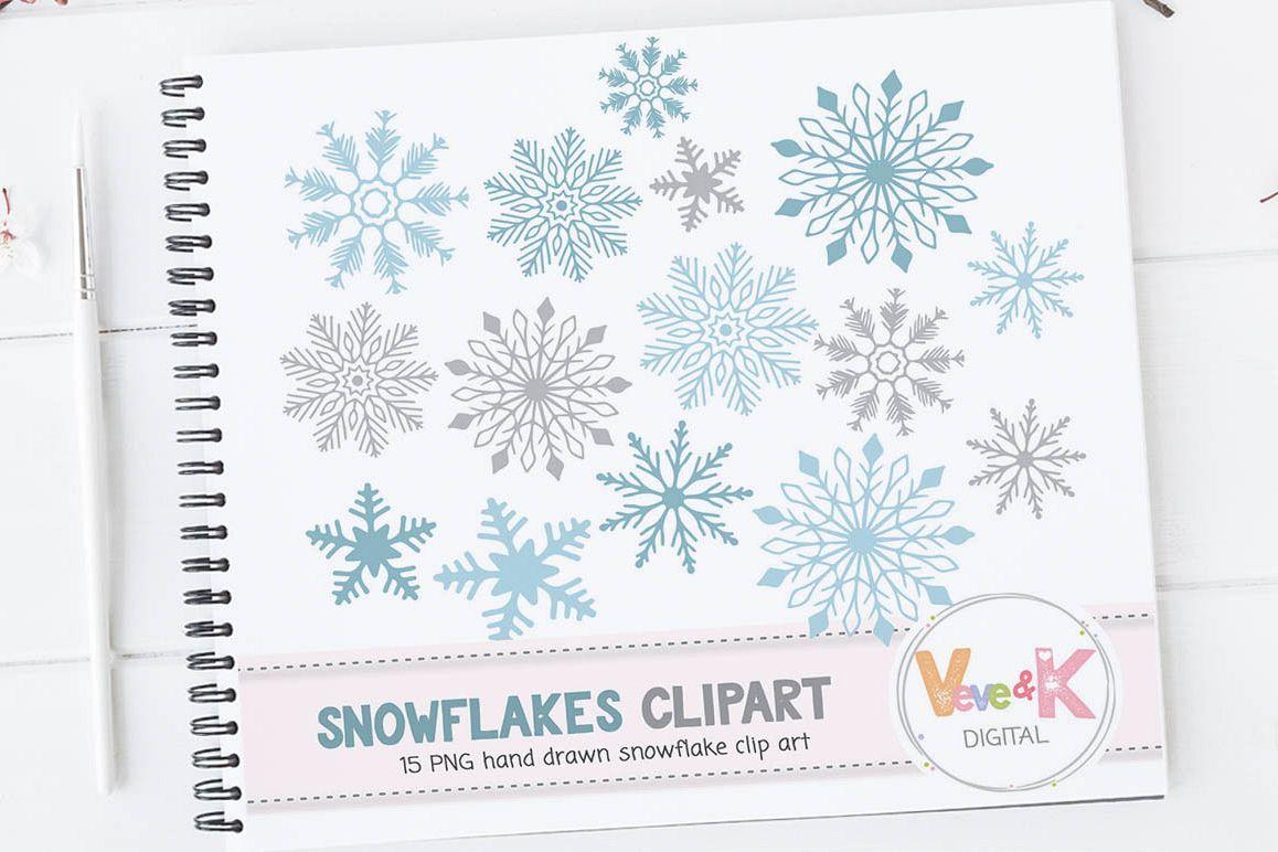 Snowflakes Clipart, Snowflakes Digital Art, Hand drawn Snowflakes ...