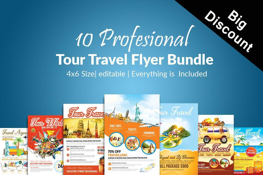 10 Tour Travel Agency Flyer Template Bundle