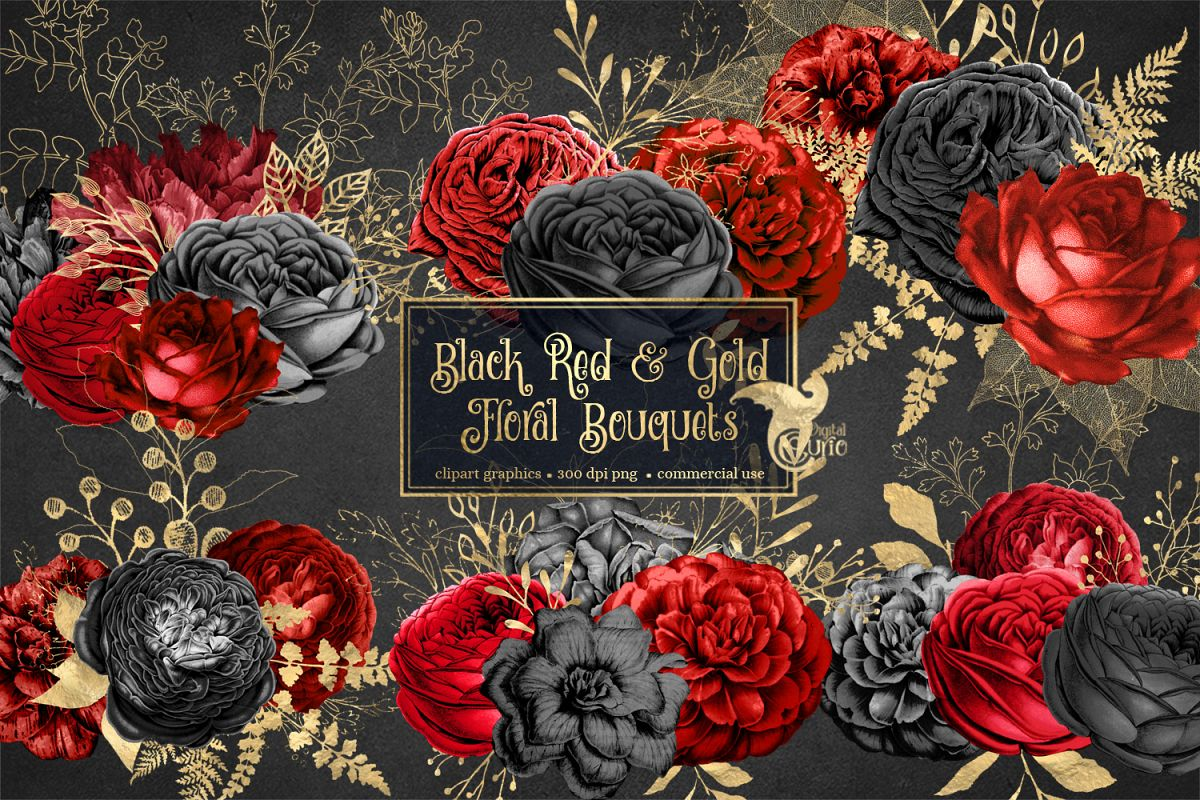 Black Red and Gold Floral Clipart example image 1