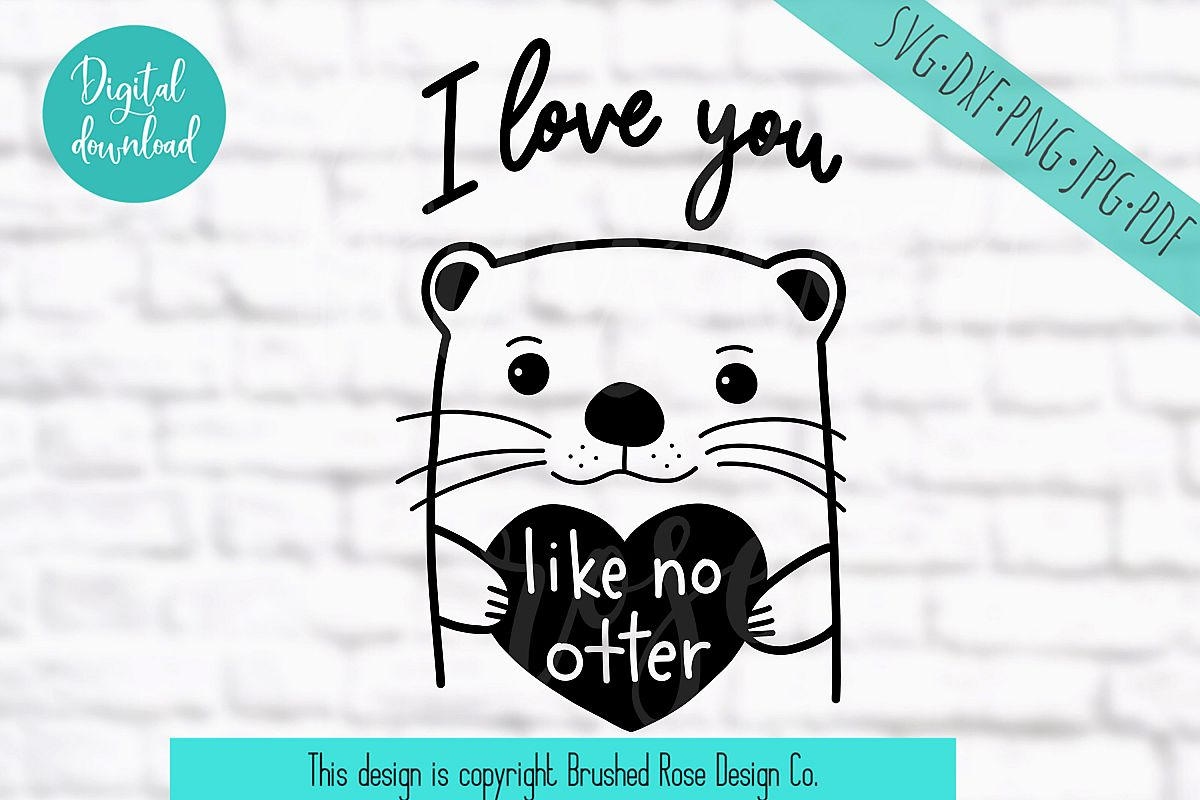 I love you like no otter - valentine svg, valentine's day example image 1