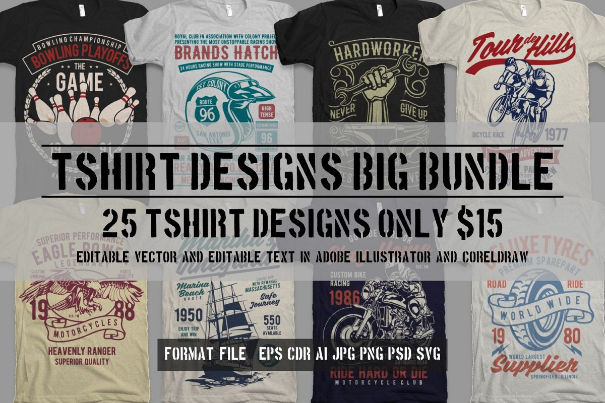25 Premium Tshirt Designs Big Bundle 5 example image 1