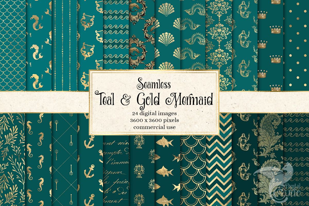 Teal and Gold Mermaid Digital Paper example image 1