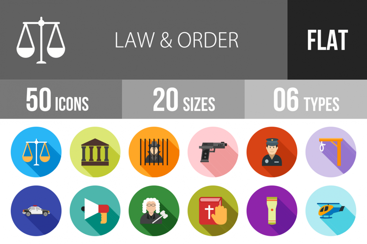 50 Law & Order Flat Long Shadow Icons example image 1