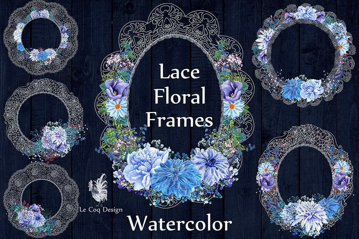 White lace floral frames clipart example image 1