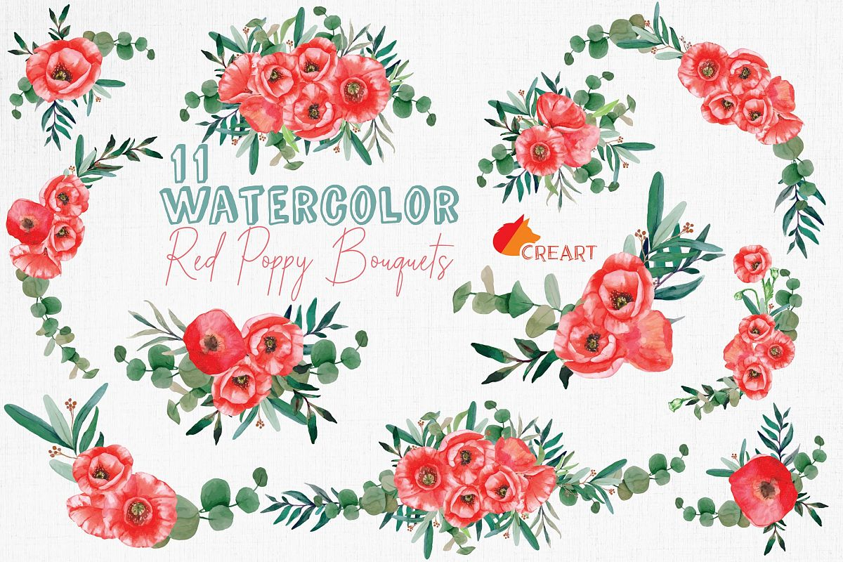 Red poppies floral watercolor wedding bouquets, floral decor example image 1