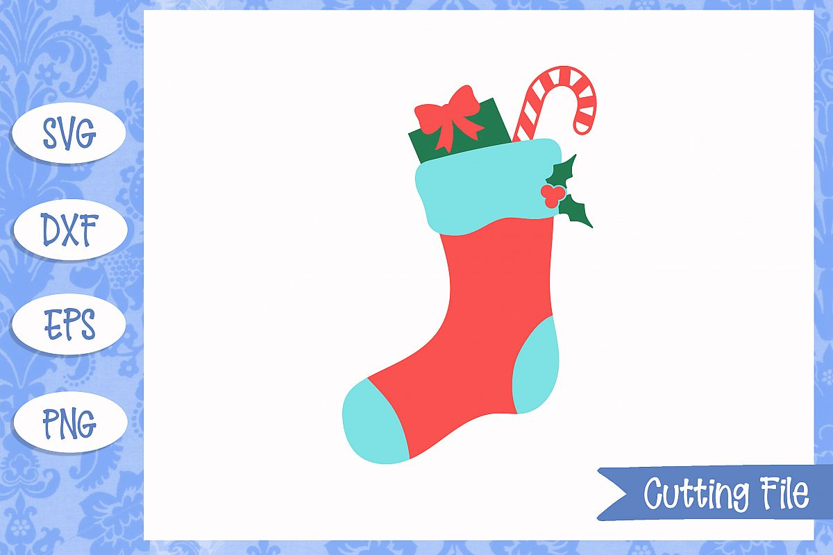 Christmas Stocking Cut File example image 1