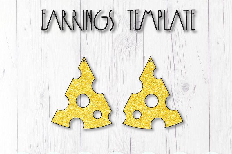 Cheese earrings template SVG, DIY earrings template example image 1