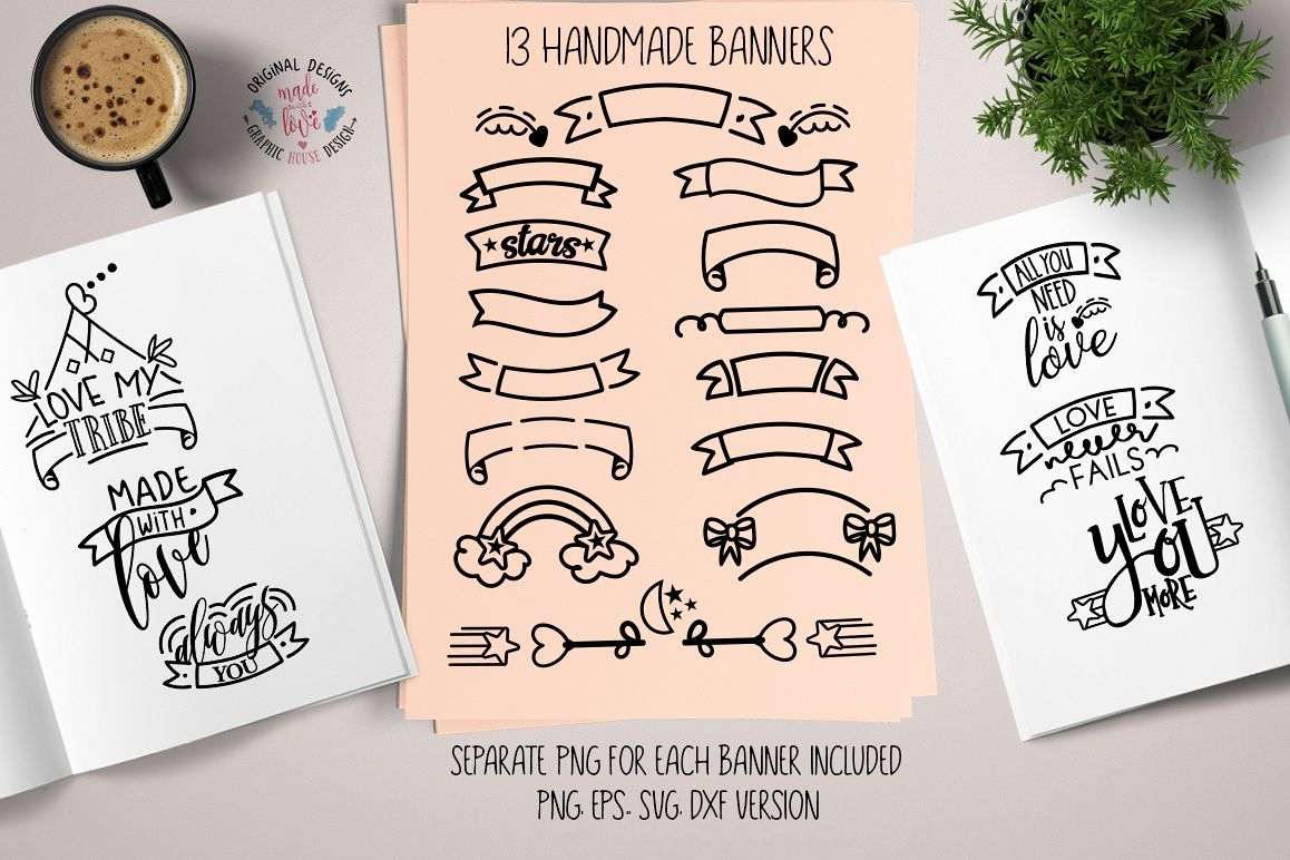 Banners Bundle Love Quotes Cutting File Svg Dxf Png