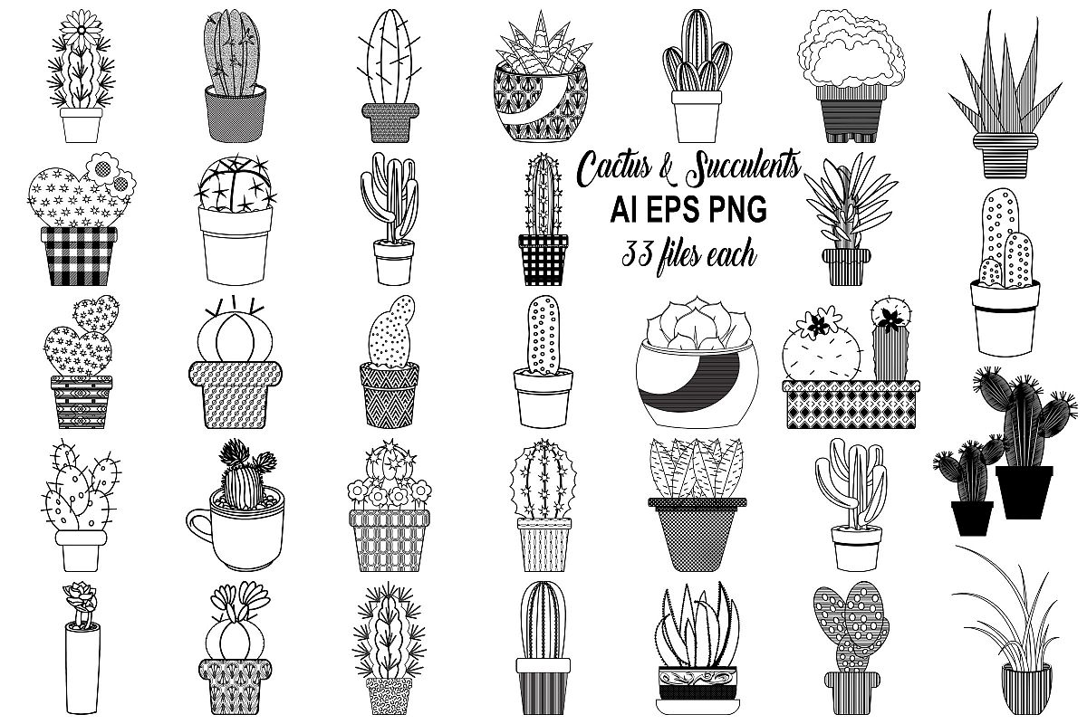 Cactus and Succulents AI EPS PNG, Vector Clip Art example image 1