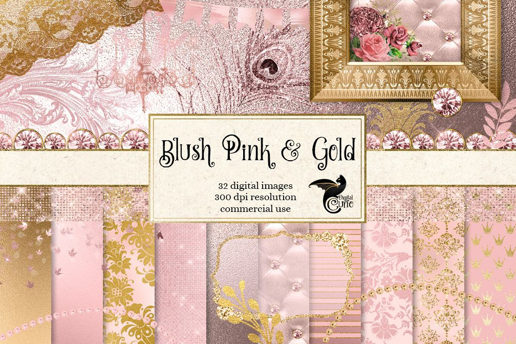 Blush Pink and Gold Digital Scrapbooking Kit example image 1