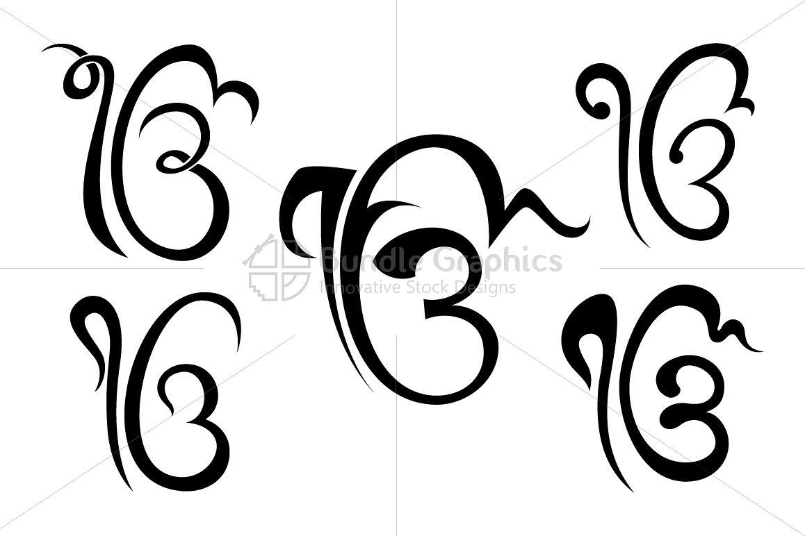 Ik Onkar Sikh Religious Symbol Calligraphic Set