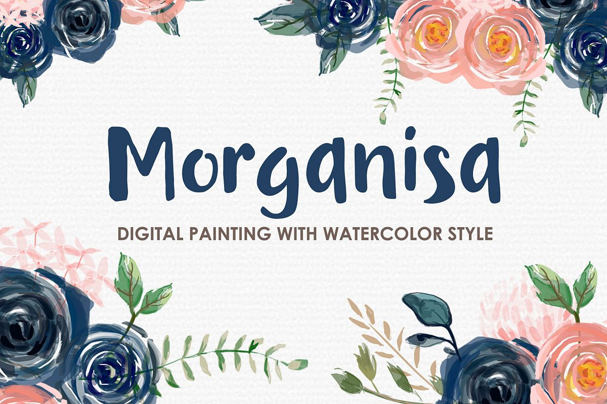 Morganisa - Digital Watercolor Floral Flower Style Clipart example image 1