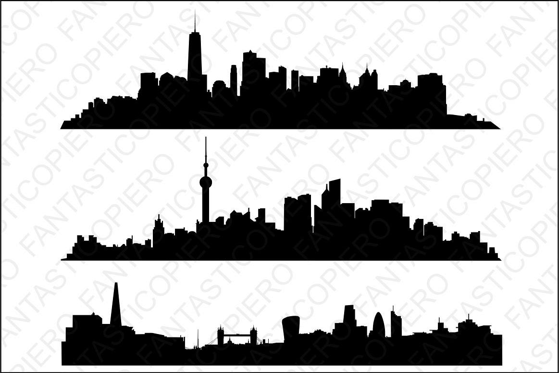Skyline Manhattan, Shanghai, London SVG files. example image 1