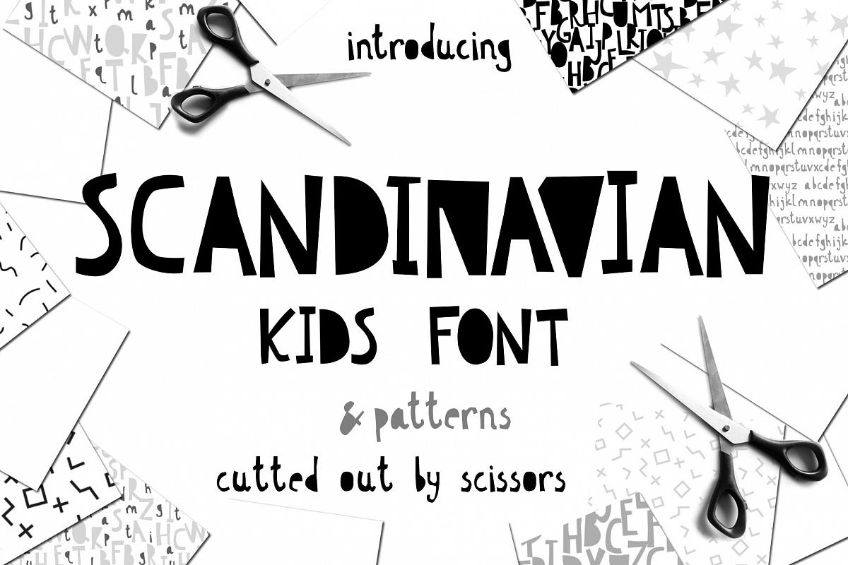 Scandinavian kids font & patterns example image 1