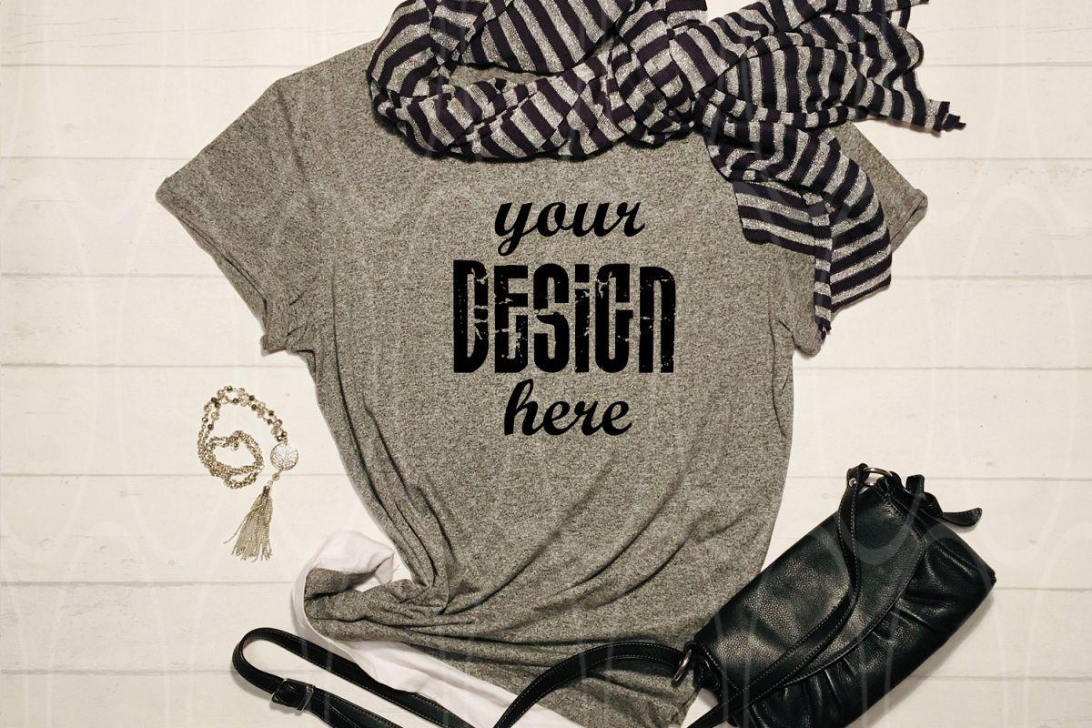Womens Shirt Mockup Slyled stock photo Dark Gray shirt example image 1