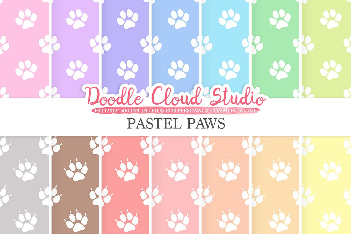 2 Sets of Pastel Paws digital paper, Paw Prints pattern, Digital Paws, pastel background, Instant Download for Personal & Commercial Use example image 1
