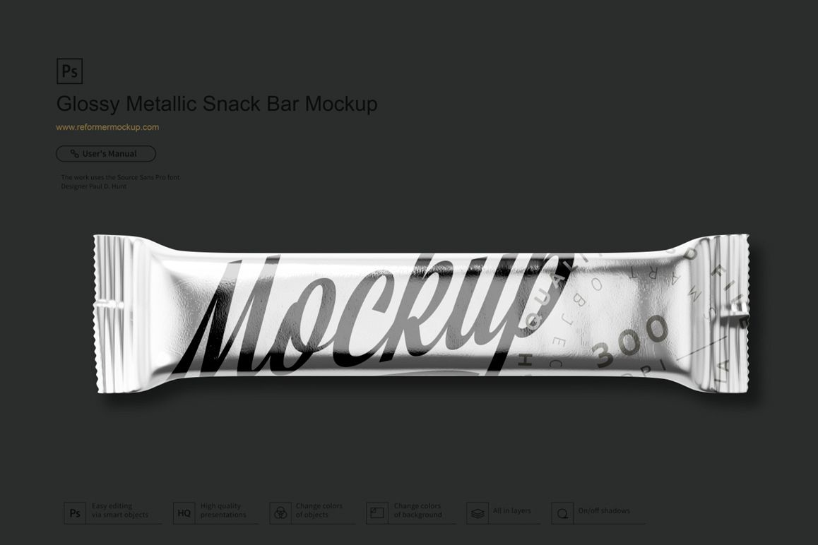 Glossy Metallic Snack Bar Mockup example image 1