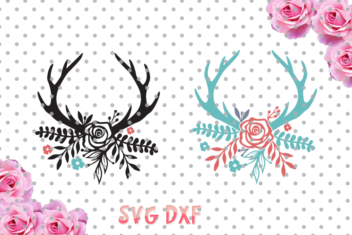 Floral Antlers Svg, boho svg, antlers, flowers svg, SVG, DXF, Cricut Designs, Silhouette Studio, Digital Cut Files, arrows svg, example image 1
