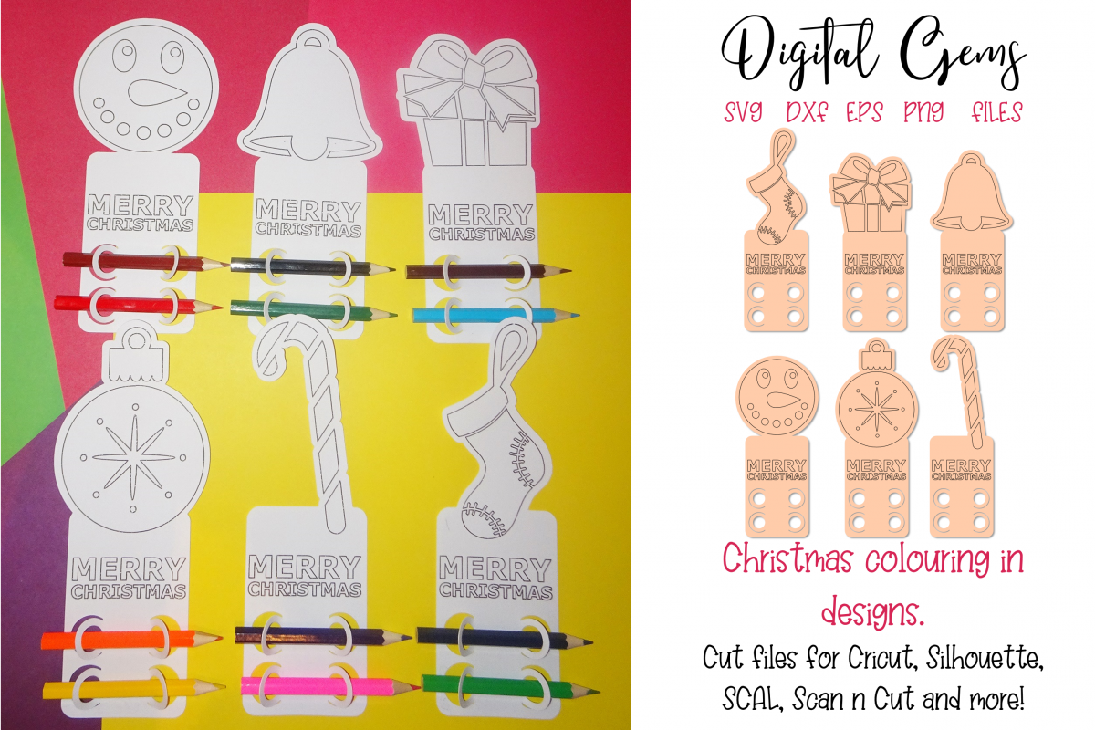 Christmas colouring in, cut and draw designs. example image 1