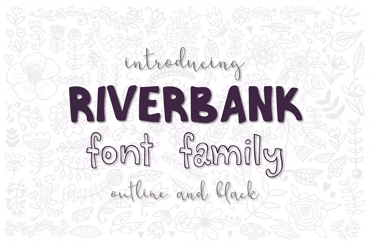 Riverbank - outline and black font family example image 1