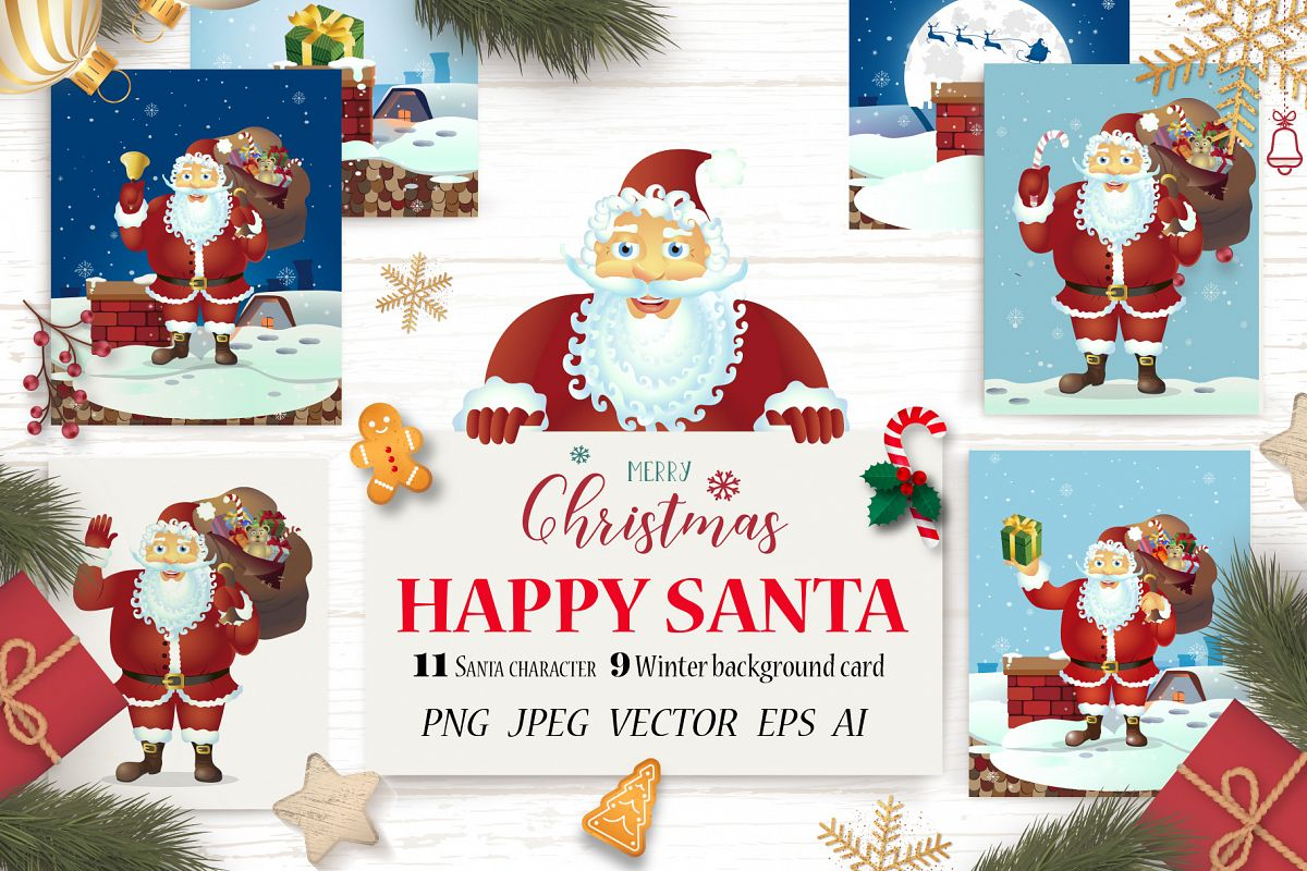 Happy Santa Merry Christmas Set vector collection example image 1