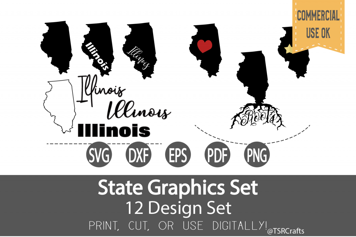 Illinois State Graphics Set - Clip Art and Digital Cut files example image 1
