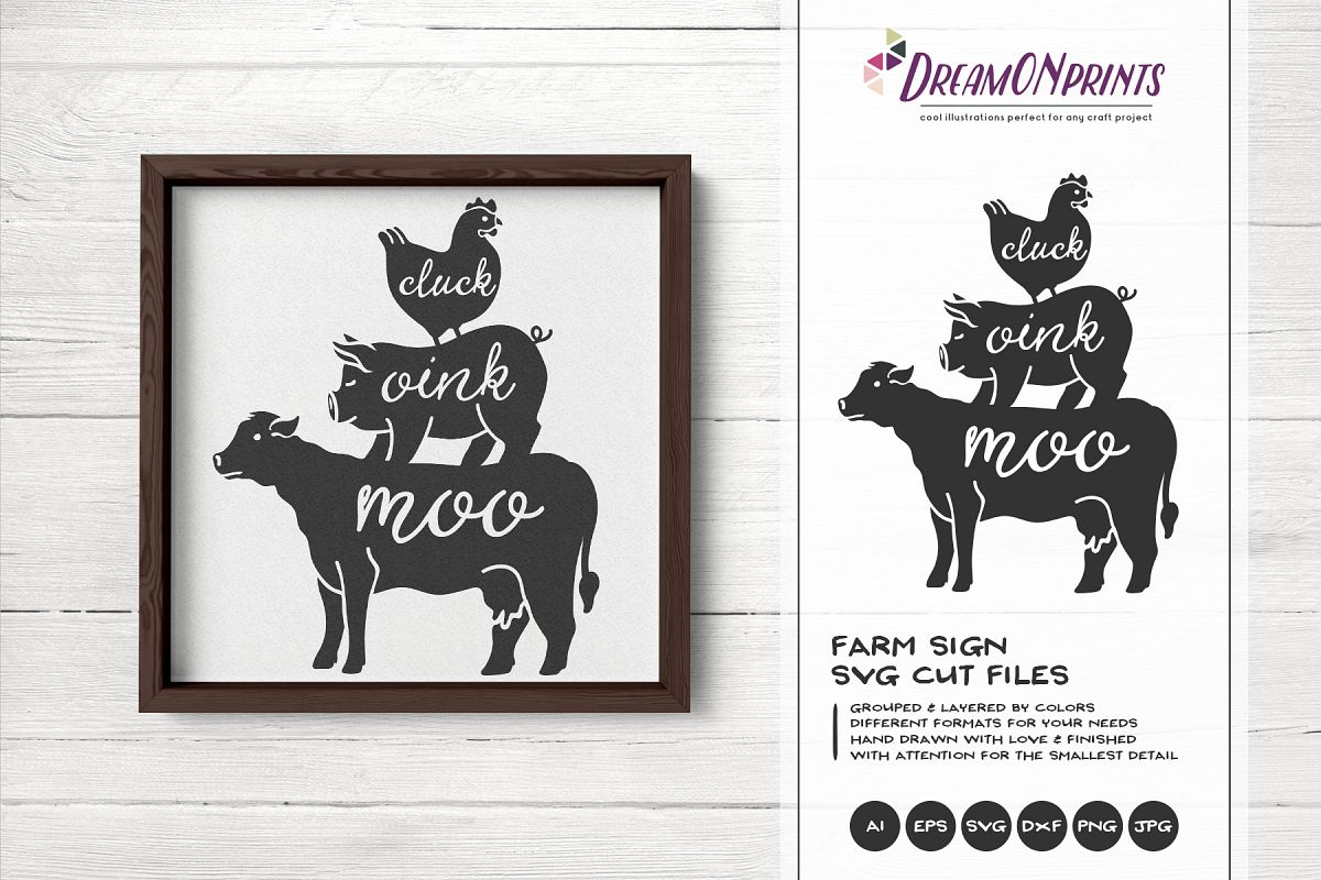 Cluck Oink Moo SVG - Farm Sign SVG Cut Files example image 1