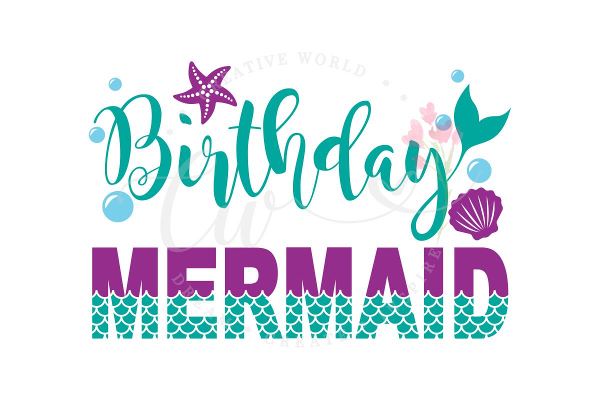 Birthday Mermaid SVG | Mermaid SVG | Mermaid Birthday Girl example image 1