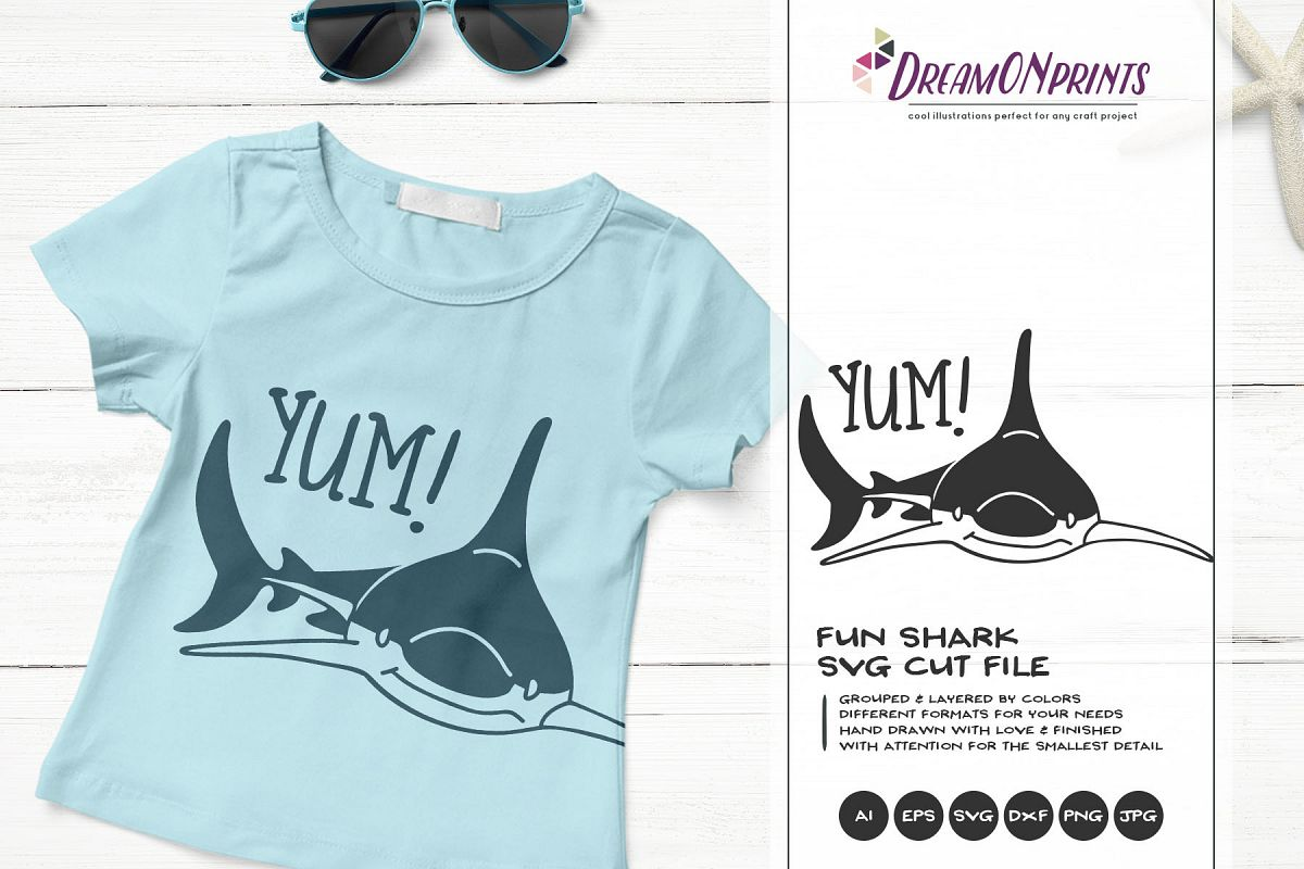 YUM! | A Fun Shark SVG | Funny Shark Illustration example image 1