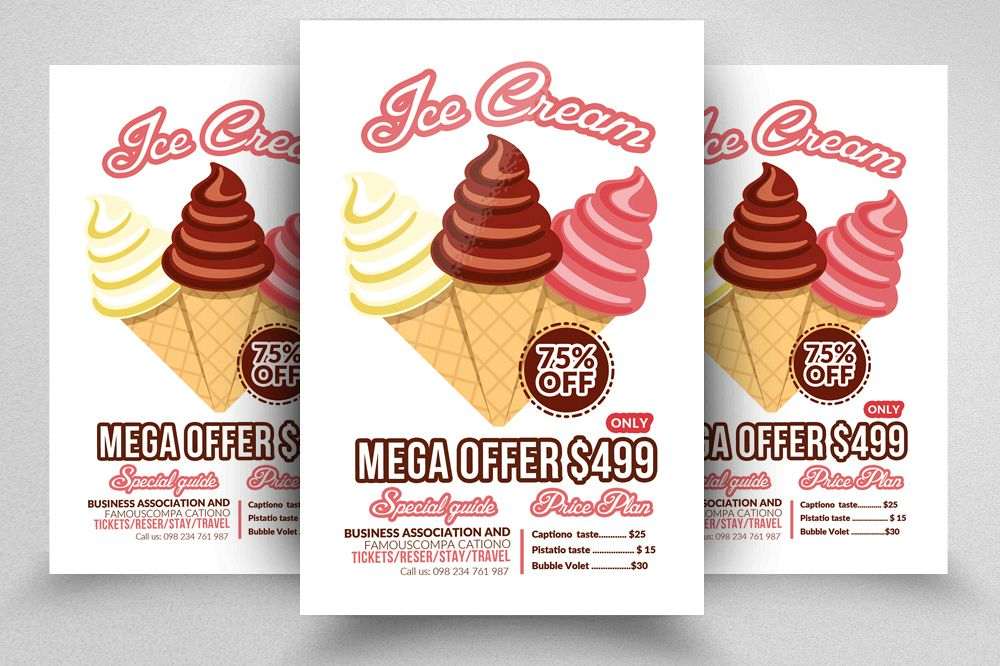 ice cream cup discount flyer template