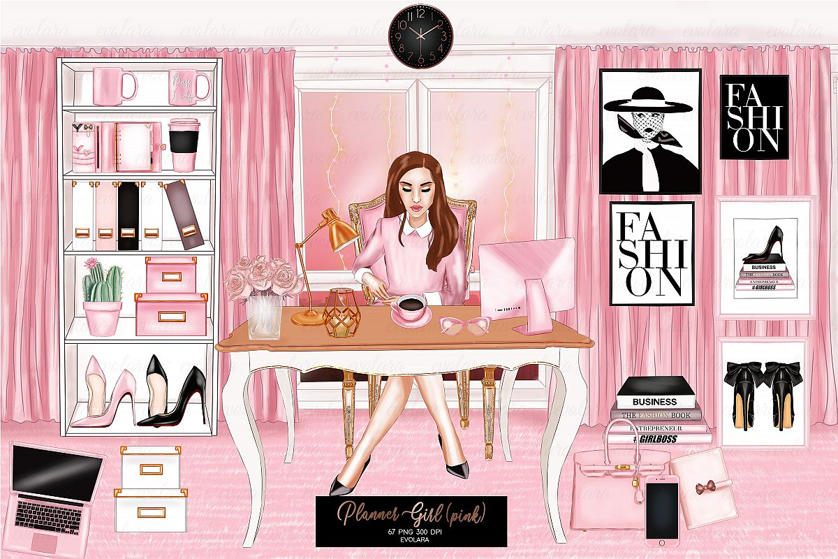 Planner Girl Clipart Boss Girl Fashion Girl Clipart