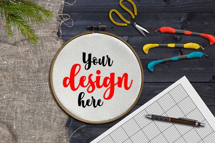 Embroidery hoop mockup example image 1