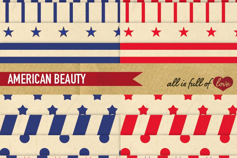 Independence day Vintage Background Patterns American Dream Digital Paper Red and Blue Stripes and Stars example image 1