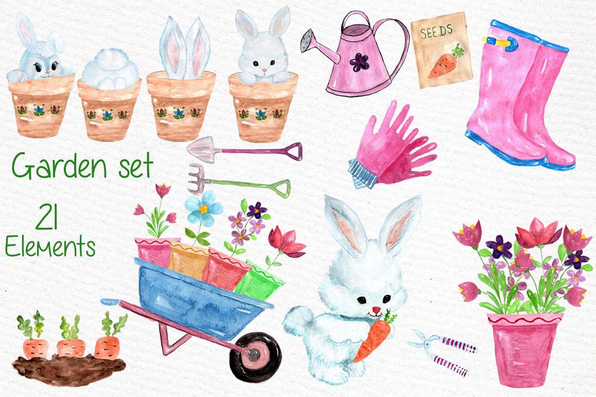 Watercolor garden clipart example image 1