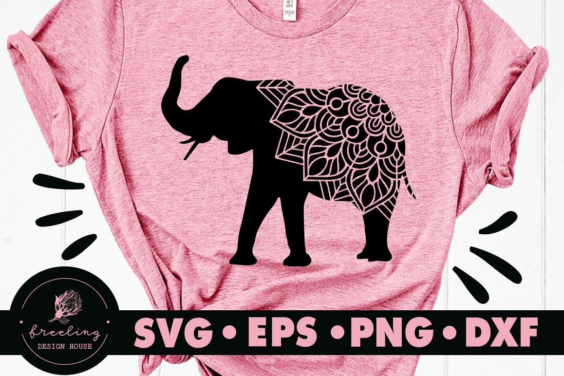 Mandala Elephant SVG DXF EPS PNG example image 1