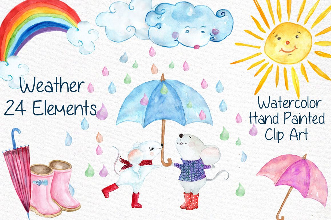 Watercolor weather clipart example image 1
