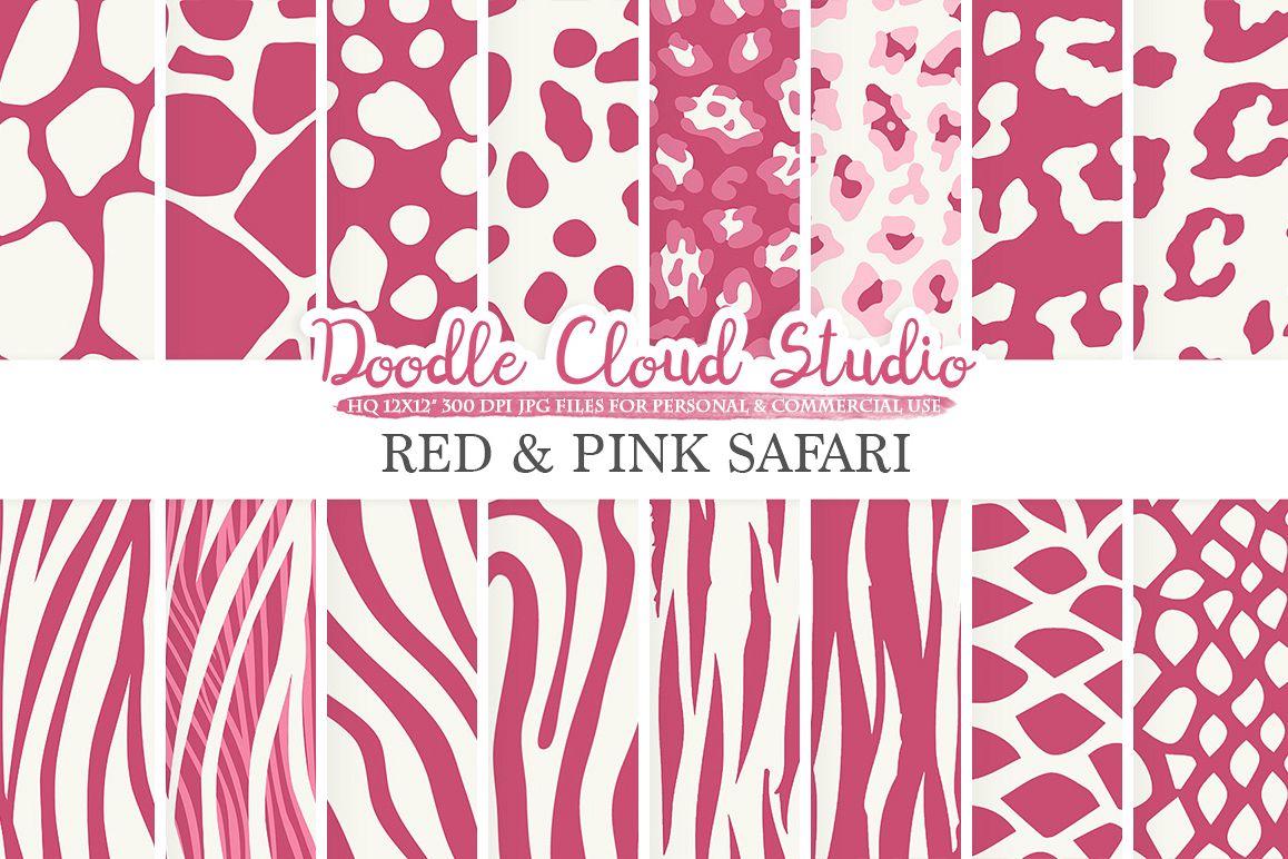 digital paper,animal print,animal patternssafari,tiger,giraffe,zebra,animal prints,animal hide,scarletdigital fur,red,hide, example image 1