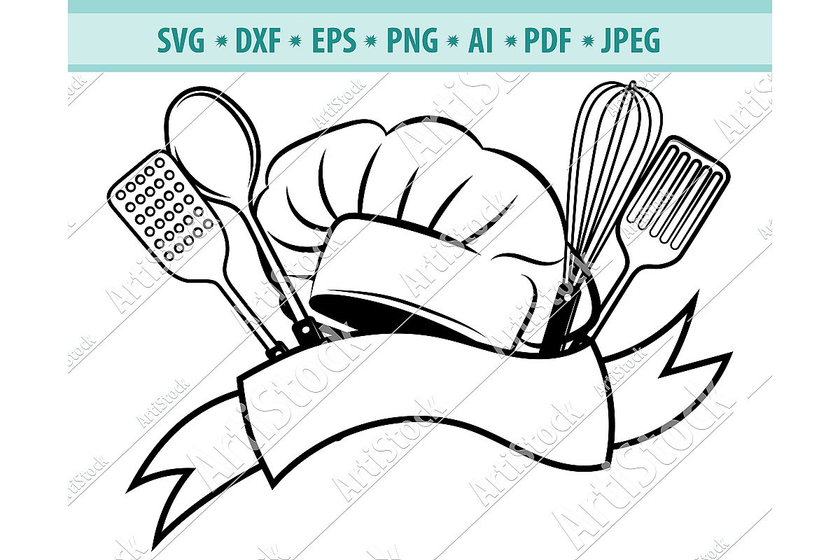 Chef Hat And Knife Svg, Chef Logo SVG, Kitchen Dxf, Png, Eps example image 1